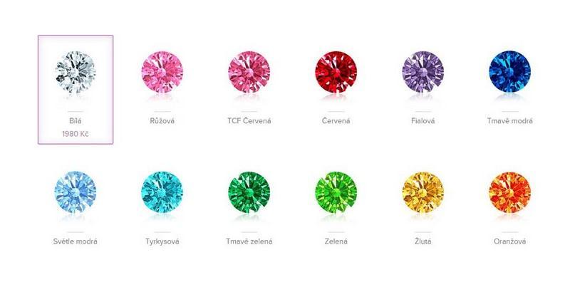 Vyberte si z 12 různých barev zirkonů dle znamení