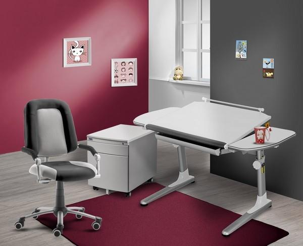 Výbava dětského pokoje s bílými deskami a bílými doplňky (židle Freaky Sport 2430 + stůl Profi3 32W3 18 + kontejner)