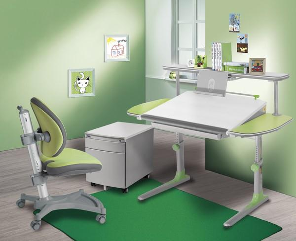 Dětský pokoj vybaven nábytkem zn. MAYER (židle MyPony 2435 + stůl Profi3 32P3 + polička se čtecím nástavcem + kontejner)
